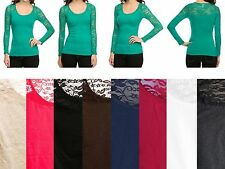 Women Round Neck Sexy Floral Lace Contrast Sheer Tee Tunic Top  Blouse T-Shirt