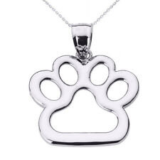 Fine Sterling Silver Dog Paw Print Pendant Necklace Pet Animal foot
