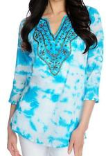 NEW - OSO Casuals Cotton Gauze Embellished Tie-Dyed Tunic SZ XS, S, XL, 1X