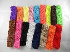 Wholesale 30 pcs Girls Baby Crochet Headband With 1 inch Acrylic choose color.
