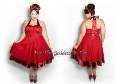 D103 RED SATIN TRIM PIN UP 50's ROCKABILLY HALTER DRESS WOMENS SIZE 12 14 16