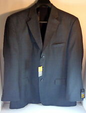 Mens Haggar 46 R Sport Coat Dark Blue Plaid Comfort Equipped Wool Blend