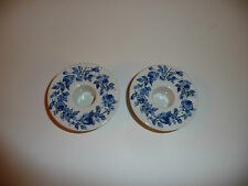 Pair of White Porcelain China Candleholders DENMARK blue floral roses decoration