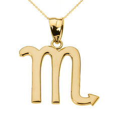 Fine 14k Yellow Gold Scorpio November Zodiac Sign Horoscope Pendant Necklace