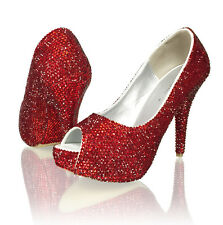Marc Defang Red Red All Over, Red Crystals Heels Soles Luxury Bridal shoes