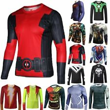 HOT Superhero Marvel Costume Cycling T-Shirts Long Sleeve Bicycle Jersey Sports