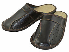 Mens Genuine Leather  Slippers Shoes Mules, Flip Flops Size 6 7 8 9 10 11 12