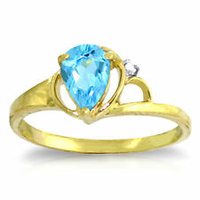Genuine Blue Topaz Pear Cut Gemstone & Diamond Ring 14K Yellow, White, Rose Gold