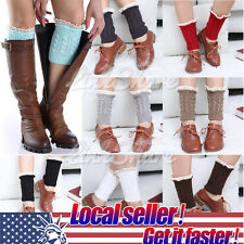 US LOCAL Women Crochet Knit Lace Trim Boot Cuffs Topper Liner Leg Warmers Sock