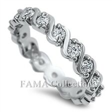 Gorgeous FAMA 925 Sterling Silver Infinity Dress Ring Clear Paved CZ Size 5-8