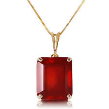 Genuine Red Ruby Emerald Cut Gemstone Solitaire Pendant Necklace 14K. Solid Gold
