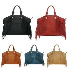 Handbag Fringe Decor Purse Bag Tote Shoulder Long Faux Leather Fashion Inspired