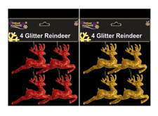 CHRISTMAS TREE HANGING GLITTERED REINDEER DECORATIONS GOLD RED PACK OF 4 OR 8