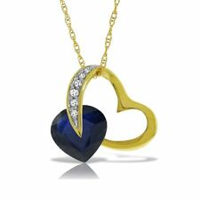 Genuine Sapphire Heart Gemstone & Diamonds Necklace 14K Yellow, White, Rose Gold