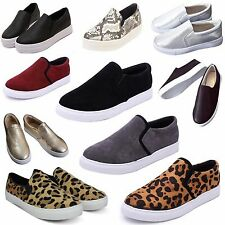 Women's Lady Casual Slip-on Flats Round Toe Shoes Sneakers Loafers Trainers Punk