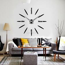 3D Modern Frameless Wall Clock Watches Sticker Hours DIY Home Office Decor