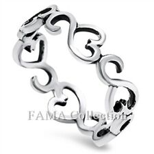 Unique FAMA 925 Sterling Silver Infinity Hearts Ring Band Size 5-8