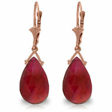 Genuine Ruby Briolette 16 ctw Gemstones Dangle Leverback Earrings 14K Solid Gold