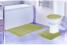 LOUISE 3 PIECE BATHROOM RUG SET, BATHROOM RUG, CONTOUR RUG AND LID COVER, BEIGE