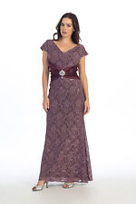 Classy Mother of Bride Groom V Neck Short Sleeve Lace Gown Pleated Jewel Waist