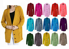 LADIES ARAN BUTTON CABLE KNITTED CARDIGAN WOMENS CHUNKY GRANDAD CARDIGAN JUMPER