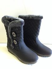 """Women's Winter Boots 9"""" Fur Lined Insulated Waterproof Side Button Snow Boots"""