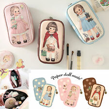 Afrocat Paper Doll Mate Beauty Pouch Organizer Case Cosmetic Travel Faux Leather