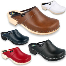 KLOGGA QUALITY CLASSIC Swedish Clogs Real Leather Medical Nurse Shoes Holzclogs