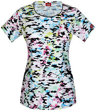 "DICKIES MEDICAL WOMENS ROUND NECK ""PRETTY TOUGH"" PRINT SCRUB TOP NEW Size XS-2XL"
