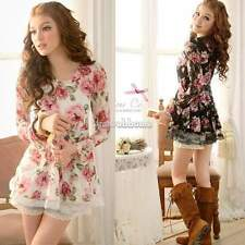 Women New Long Sleeve Rose Flower Shirts Blouses Prints Lace Casual Tops SH