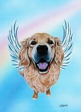Golden Retriever Angel Print Pet Memorial Rainbow Bridge Dog Breed Angels Willie