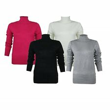 LADIES PINK BLACK CREAM POLO-NECK ROLL JUMPER WOMENS LONG SLEEVE TOP SIZES 8-22