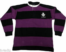 Men's Scotland Striped Long Sleeve Rugby Shirt Purple and Black with Thistle