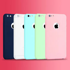 For iPhone 6 6s 7 7Plus Ultra Thin Candy Color Soft Matte TPU Back Case Cover