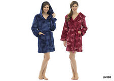 Foxbury Women's Butterfly Shimmer Fleece Hooded Bath Robe Dressing Gown