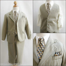 Well tailored Boy khaki stripe/ivory wedding 5 pc set formal party suit all size