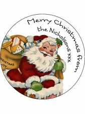 30-90 PRE-CUT PERSONALISED EDIBLE WAFER CUP CAKE TOPPERS CHRISTMAS SANTA CLAUS