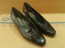New Leather Womens Shoes Croco Court Pumps Heels Loafers Style Black Office Size