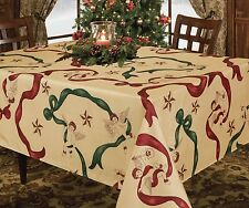 CHRISTMAS HOLIDAY DESIGN TABLECLOTH, CHERUB OR WHITE / RED POINSETTIA