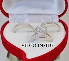 4.8ct Solitaire Lab-Created Diamond Engagement Real 925 Silver Ring