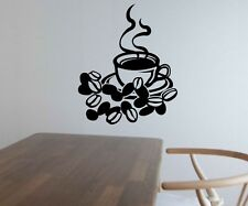 Wall Decal Coffee Beans Cup Kitchen Saying Smoke Coffee Wall Stickers 5Q605