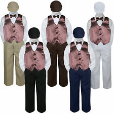 5pc Boy Suit Set Brown Coco Vest Bow Tie  Baby Toddler Kid Formal Hat Pants S-7