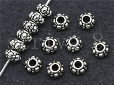 New 20/100/500pcs Antique Silver Beautiful Circular Charms Spacer Beads 6x4mm