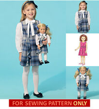 SEWING PATTERN! MAKE GIRL~DOLL MATCHING JUMPER~BLOUSE~DRESS! FITS AMERICAN GIRL!