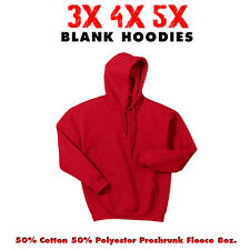 Big 3X 4X 5X Men's Hooded Sweatshirt 3XL 4XL 5XL Blank Hoodie RED