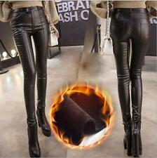 New Lady High Waisted Women's Sexy Faux Leather Skinny Pants Warm Slim Leggings