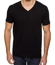 Vneck New Mens V-Neck T-Shirt 100% Cotton Plain V Neck Tee Black XS-2XL