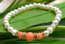"SALE 6-7mm white Natural Pearl and Round natural pink Coral 7.5"" bracelet-bra291"