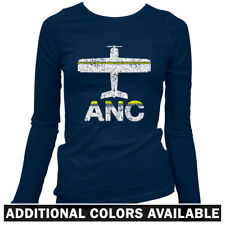 Fly Anchorage ANC Airport Women's Long Sleeve T-shirt LS - Plane Airlines - S-2X