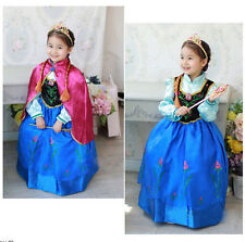 Disney Snow Frozen Anna Rrincess Dress Kid Girls Costume  Party  Cosplay